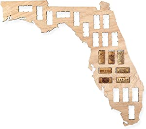 Wooden Shoe Designs Wine Cork Map - Florida | Wall Mounted Wine Cork Holder Decor Display Art | A Great Gift for Wine Lovers and Collectors