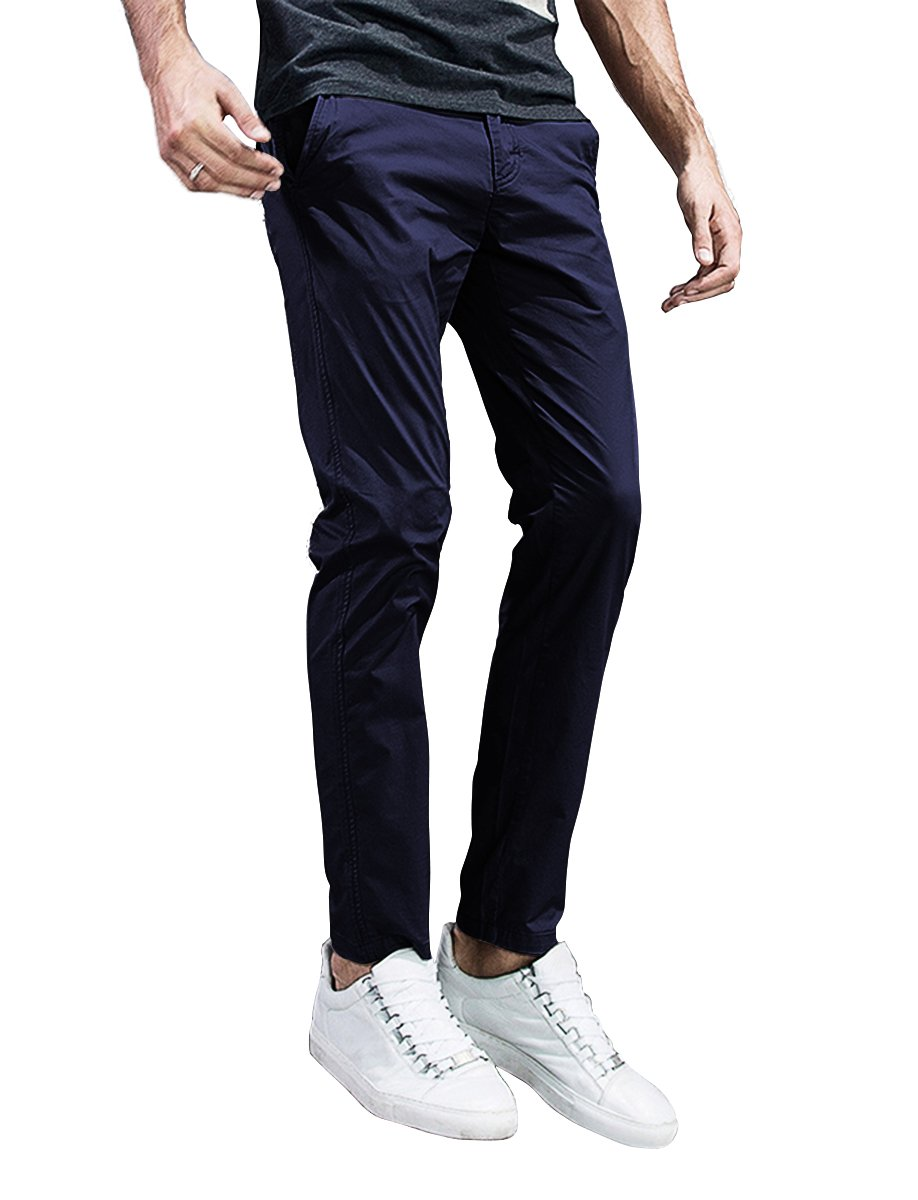 Match Mens Slim-Tapered Flat-Front Casual Pants (32, 8105 Dark Blue)