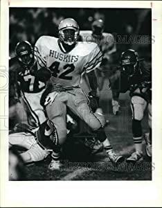 Historic Images - 1987 Press Photo Kenneth Lampkin Touchdown, Holmes vs TAFT Football Game