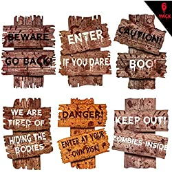 Happy Storm Halloween Beware Yard Stakes 6 PCS Halloween Yard Sign Decorations Halloween Garden Stake Lawn Sign Bloody Scary Zombie Vampire Graves Halloween Outdoor Yard Warning Props Decor