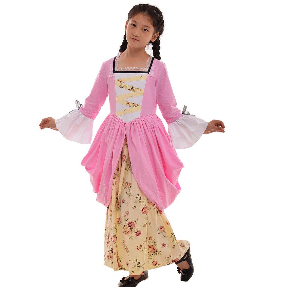 GRACEART Pioneer Pilgrim Girl Colonial Kids Costume Pink 100% Cotton