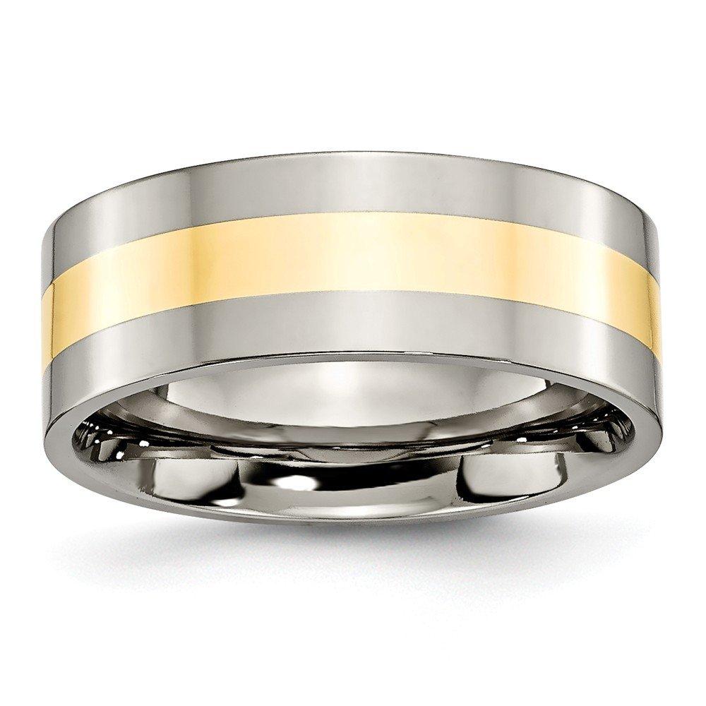 Brilliant Bijou Titanium 14k Yellow Inlay Flat 8mm Polished Band