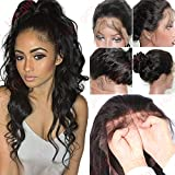 S-noilite 14 Inch Human hair lace front wig for black women ladies brazilian virgin hair wig (Lace front wig human hair wig, 14'' Curly)