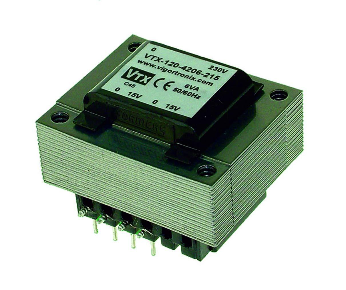 Transformador de corriente PCB encapsulado de 6 VA, 0-230 V, 2 x 24 V
