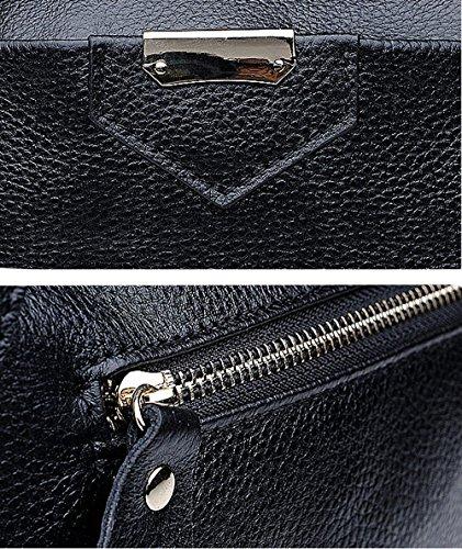 SAIERLONG Neues Damen K?nigsblau Rindleder-Echtes Leder Damen Handtaschen Schultertaschen Schwarz 4pNiA