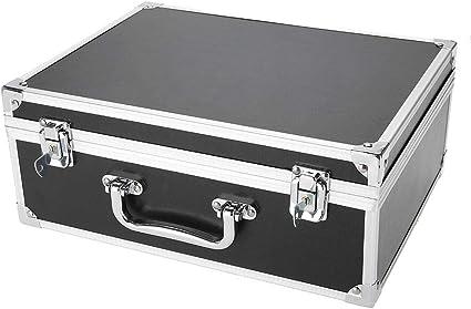 Estuche de aluminio para la máquina de tatuaje de 2 colores: caja de transporte, diseño bloqueado no es fácil de deslizar, aleación de aluminio(01# negro): Amazon.es: Belleza