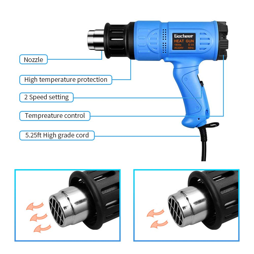 Heat Gun,Gocheer Professional Hot Air Gun Kit,1800W 220V Adjustable Temperature,Fast Heating Blower Kits for Stripping Paint, Shrinking PVC, Soldering Pipes, molding Plastics Removing, DIY, Home Improvement & Restoration