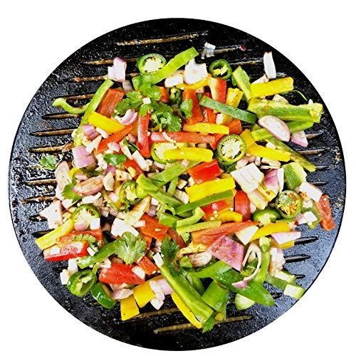 "Solid stone circle BBQ stone accessory for grilling, oven, baking, pizza, camping. Creates non-stick surface like a cast-iron skillet. Includes 16"" bamboo place-mat. Designed to fit all grill brands"