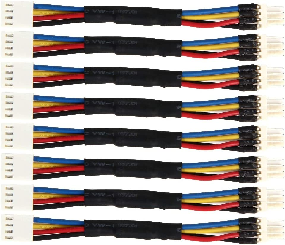 Cable Length: 12cm ShineBear 8pcs 4 Pin Fan Connector Cord PC Reduce Fan Speed Power Resistor Male to Female Cable Adapter Easy Installer Install