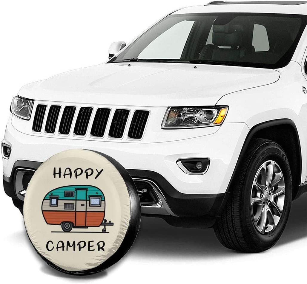 LOKIDVE Happy Camper Spare Tire Cover Wheel Protectors for Jeep Wrangler RV SUV