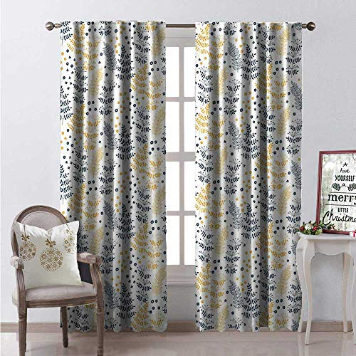 - Hengshu Botanical Thermal Insulating Blackout Curtain Forest Plant Leaf Fern Honey Locust Pinnate Whorled Flowers Blackout Draperies for Bedroom W120 x L108 Dark Petrol Blue Apricot White