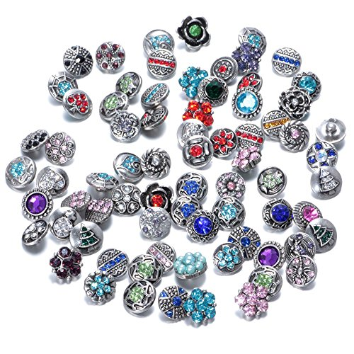 Soleebee Mixed Random Alloy Rhinestone 12mm Snap Buttons Jewelry Charms (Pack of 50) -