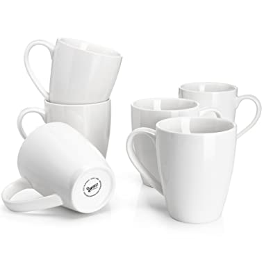 Sweese 6201 Porcelain Mugs - 16 Ounce for Coffee, Tea, Cocoa, Set of 6, White