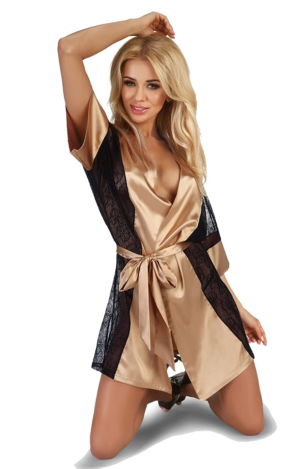 Sexy Gold Satin Tied At The Waist Black Lace Sides Trimmed Dressing Gown & Thong Set