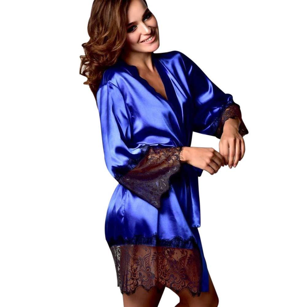 VANSOON Women Sexy Lingerie Dress Silk Kimono Dressing Babydoll Lace Belt Bath Robe Nightwear Satin Chemise Mini Teddy