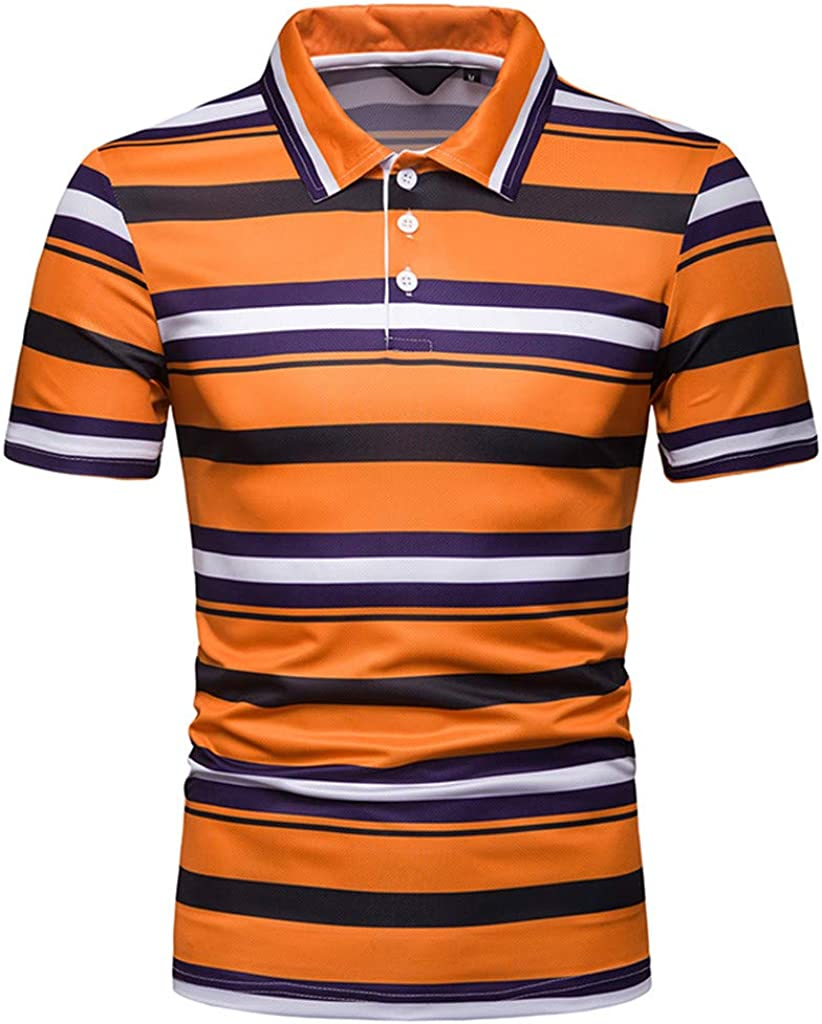 Allywit Personality Mens Slim-Fit Striped Cotton Pique Polo Shirt M-2XL