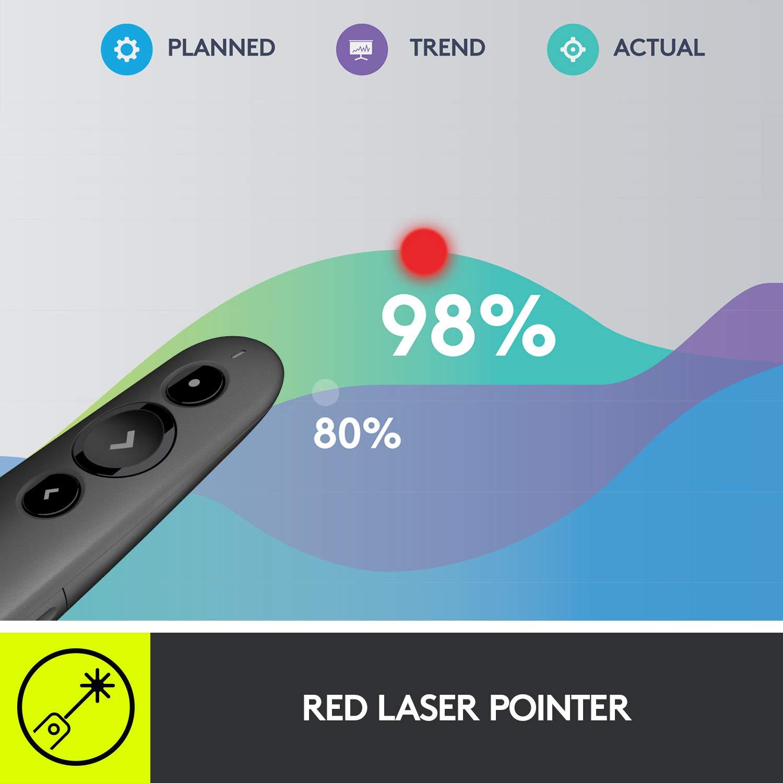Logitech R500 Bluetooth and USB Laser Presenter/Presentation Clicker,  Universal Compatibility, 20m range, Customizable, Smart Battery 12 months  usage,