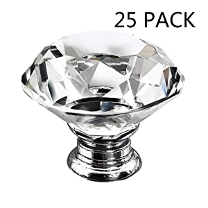 Dresser Crystal Knobs - 30MM 25 PCS Glass Crystal Drawer Knobs Pulls Cabinet Handle for Home Kitchen Wardrobe Cupboard