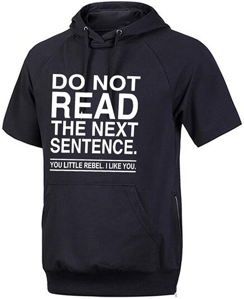 Conquershop Mens Do Not Read The Next Sentence You Rebel Hoodie Short Sleeve
