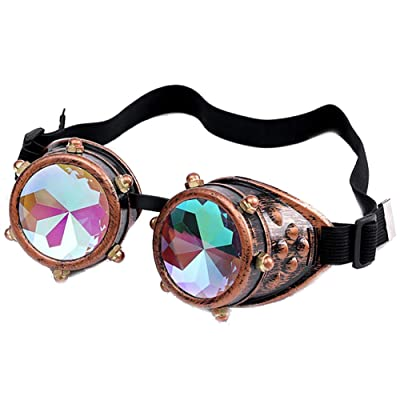 FTXJ Retro Steampunk Goggles Welding Punk Glasses Cosplay (Bronze(Colorful Lens)): Toys & Games