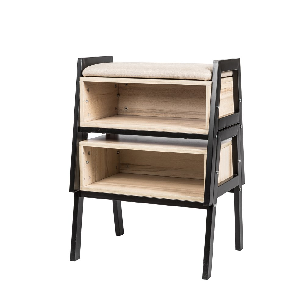 Huisenus Stackable Utility Bookshelf Bookcase Decorative Display Stand Book Storage Rack Used as Shoes Cabinet Stool with Free Cushion Beside Table End Table Side Table Pack of 2
