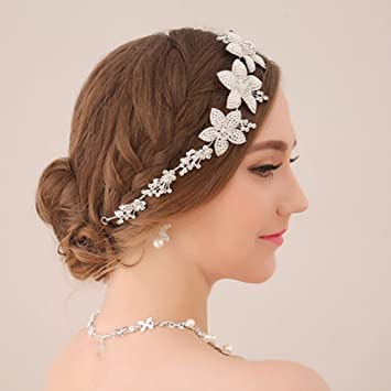 Amazon.com   Bohemian Headpiece White Flower Faux Pearl Headband Rhinestone  Bridal Wedding Hair Accessories   Beauty 346917515195
