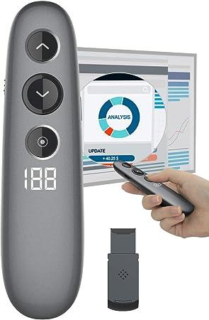 Doosl. Mando a distancia inalámbrico para presentaciones con puntero láser digital, temporizador LCD para presentaciones en ordenador portátil: Amazon.es: Electrónica
