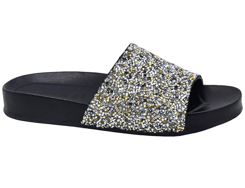 MaxMuxun Damen Pantoletten Synthetische Pelz Flip Flops Thong Sandalen  37 EU|Silber