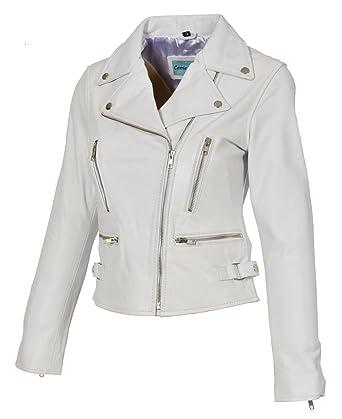 dea8c54e Womens Leather Jackets Motorcycle Bomber Biker White Real Leather Jacket  Women