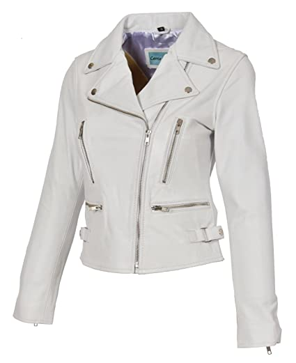 30b1d87cb Womens Leather Jackets Motorcycle Bomber Biker White Real Leather Jacket  Women