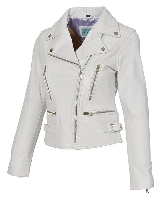 Amazon.com: Para mujer chaquetas de piel Moto Bomber Biker ...