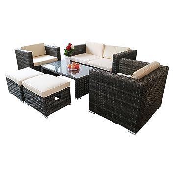 Amazon.com: Khaokee - Juego de sofá de ratán para exterior ...