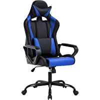High-Back Gaming Chair PC Office Chair Computer Racing Chair PU Desk Task Chair Ergonomic Executive Swivel Rolling Chair with Lumbar Support for Back Pain Women, Men (Blue)