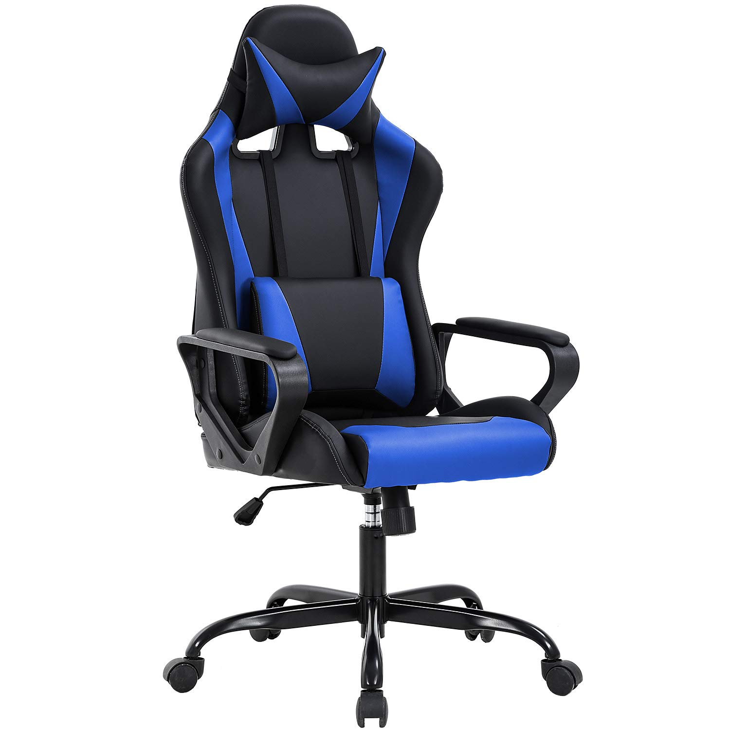 High-Back Gaming Chair PC Office Chair Computer Racing Chair PU Desk Task Chair Ergonomic Executive Swivel Rolling Chair with Lumbar Support for Back Pain Women, Men (Blue) by BestOffice