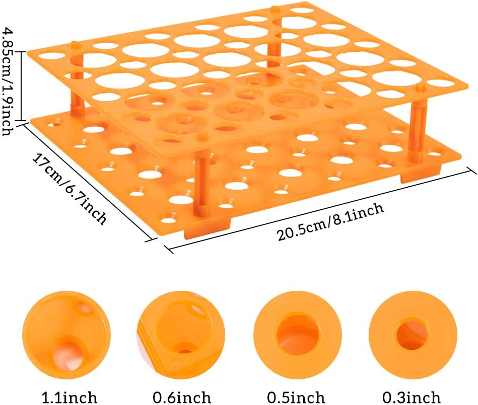 BENECREAT 20PCS 40ml Plastic Test Tube with Tray Aluminum Cap Test Tube with Orange Rack Holder for Scientific Experiments Supplies Candy Storage