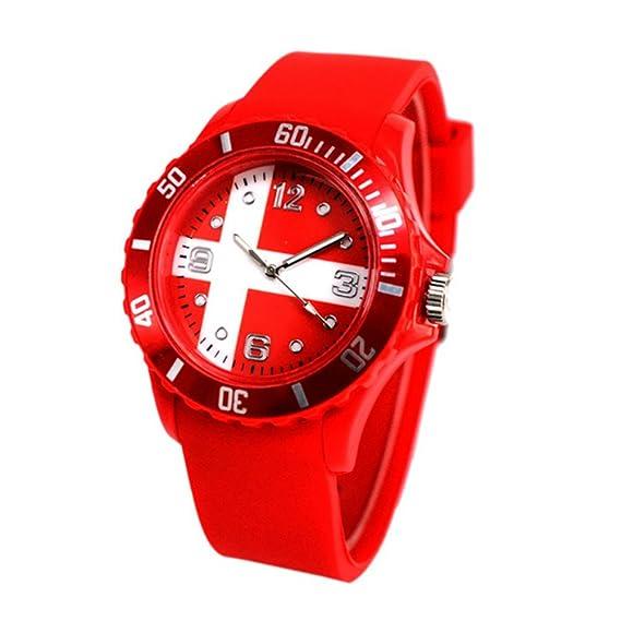 Relojes de mujer, Moda Deportes Relojes de Pulsera Fútbol Copa del Mundo Bandera Patrón Cuarzo Reloj Silicona Suave Cómodo Relojes: Amazon.es: Relojes