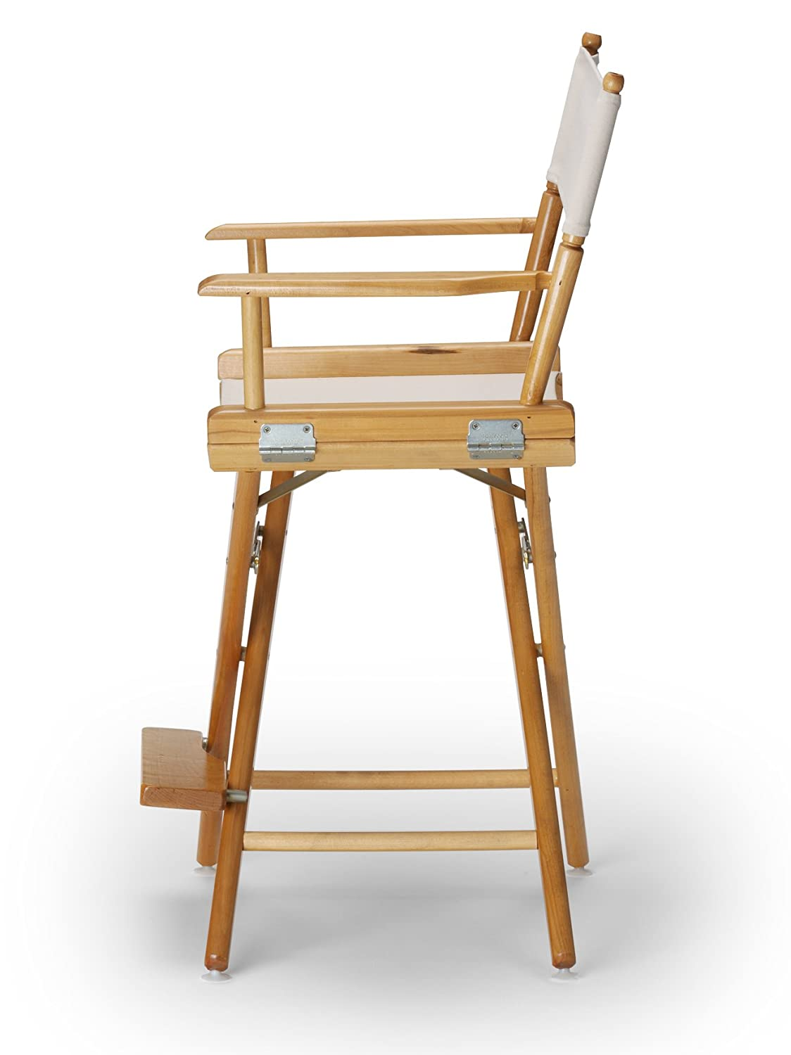 Telescope Casual World Famous Counter Height Director Chair, White with Varnish Frame