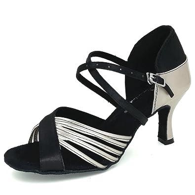a6a2320565c Pierides Women s Peep Toe Sandals Latin Salsa Tango Practice Ballroom Dance  Shoes with 2.75 quot  Heel