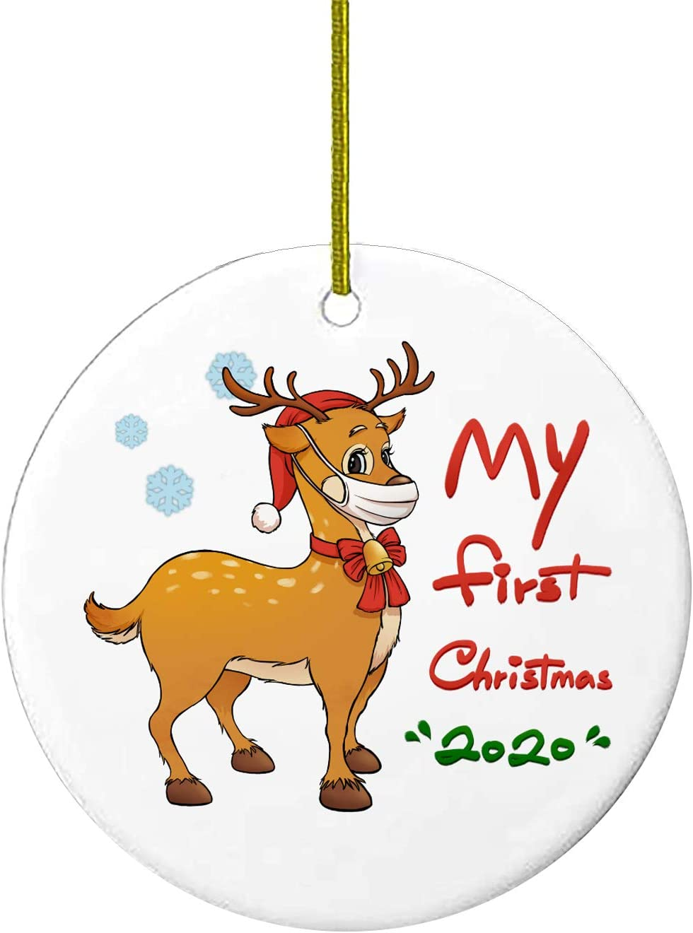 2020 Christmas Ornaments Friends Quarantine Gift | Holiday Xmas Tree Decorations Ornament The One Where We were Quarantined | Ceramic Holiday Decor Santa (My First Christmas)