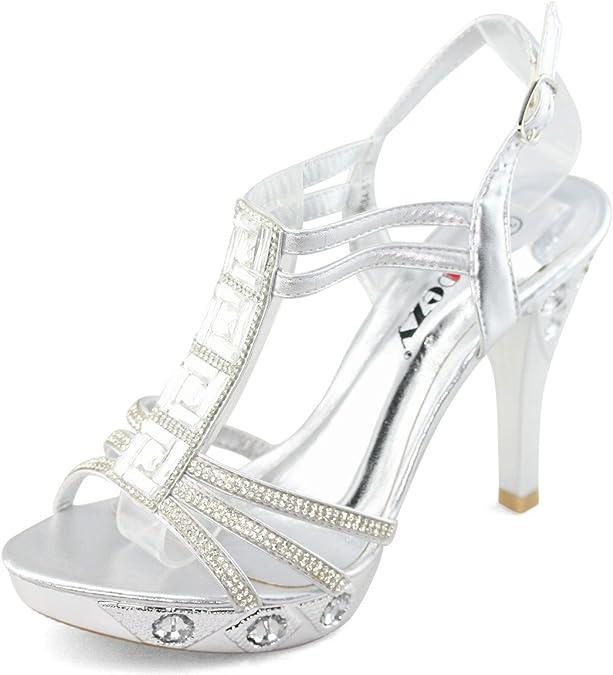 SHOEZY Damen T Bar Diamant Riemchen Sandale High Heels