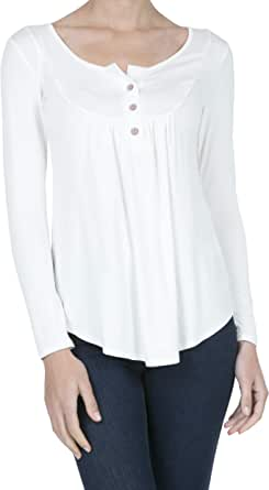 iliad USA Women's Long Sleeve Casual Henley T Shirts Button Up Tunic Tops Blouses