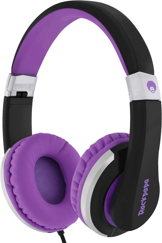 ROCKPAPA I22 Foldable Adjustable On Ear Headphones with Microphone for Kids/Adults iPhone iPad iPod Tablets MP3/4 DVD Computer Black/Purple