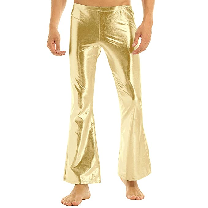 Hippie Pants, Jeans, Bell Bottoms, Palazzo, Yoga inhzoy Mens Shiny Metallic Fashion Dance Pants Holographic Disco Flared Pants Bell Bottom Trousers $21.94 AT vintagedancer.com