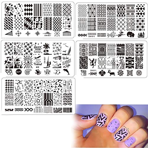 DAODER Nail Art Stamping Kits Templates Nail Stamping Plates for Nails Geometric Drawing Image Nail Art Plates Manicure Tools 5pieces