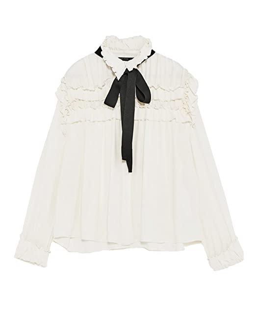 a904f59cbd9cb2 Zara Women Ruffled Blouse With Contrasting Bow 2157/227 (Large ...