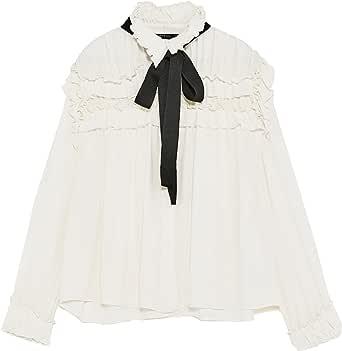 Zara Camisas - para mujer Weiß L: Amazon.es: Ropa