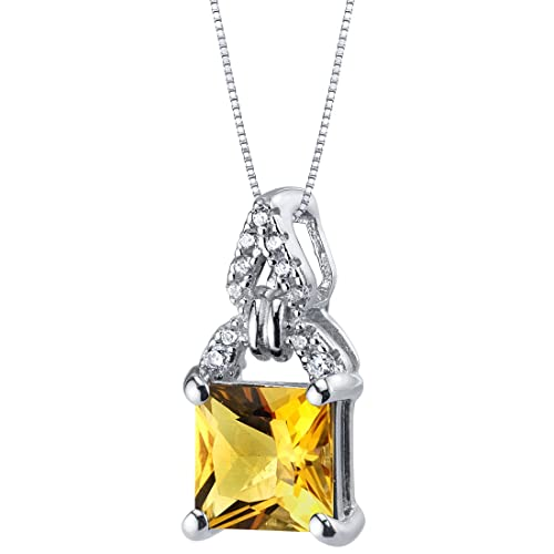 Sterling Silver Princess Cut Portico Pendant Necklace in Various Gemstones