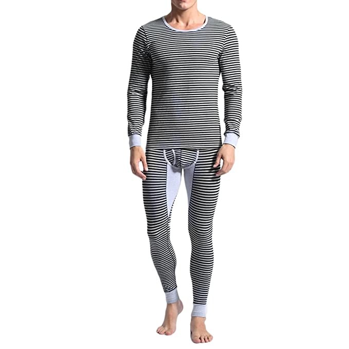 Zhhlinyuan Ropa interior térmica para hombre Mens Thermal Underwear Set Top & Pant Fashion Design Winter