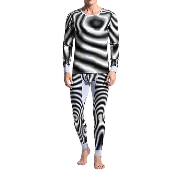 Zhuhaitf Ropa interior térmica para hombre mens winter warm Thermal Underwear Set Long Sleeves Striped Round