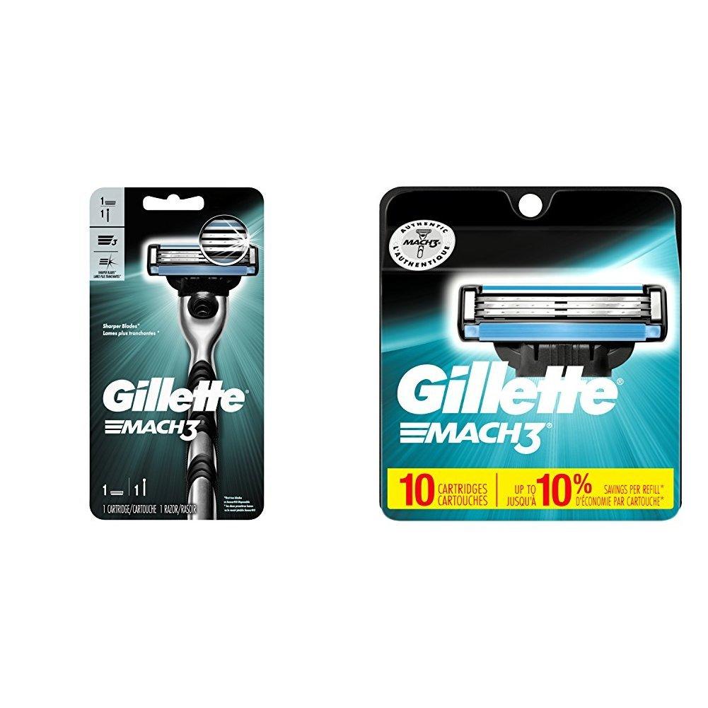 Gillette Men's Razor, Handle & 1 Blade Refill with 10 Blade Refills